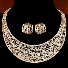 Piercing Collares Earrings Fine African Jewelry Sets Bridal Maxi Necklaces+ Pendientes Gold/Silver Plated Wedding Joyeria Women(China)