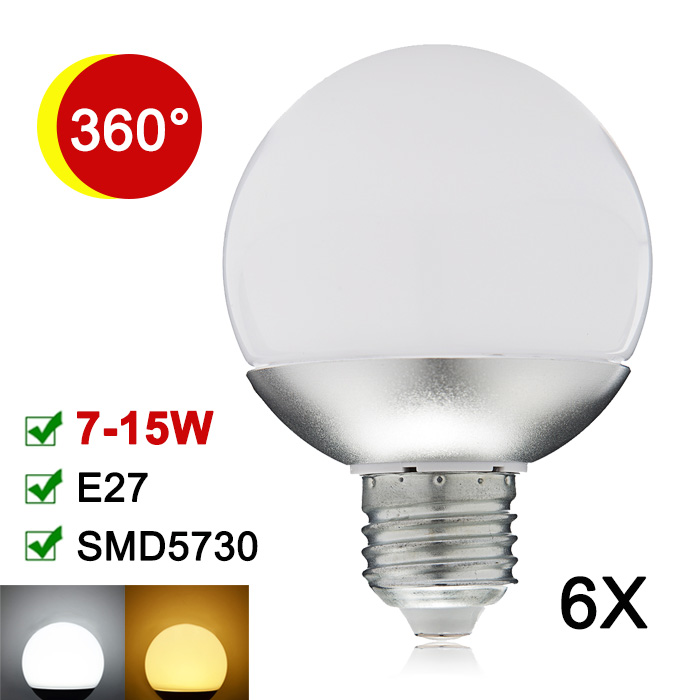 6X New E27 LED Lamp 7W 9W 12W 15W LED Bulb 110V 220V SMD5730 Global LED Light 360 Degree Lampada Enegry Saving A60 A70 A80 A90<br><br>Aliexpress