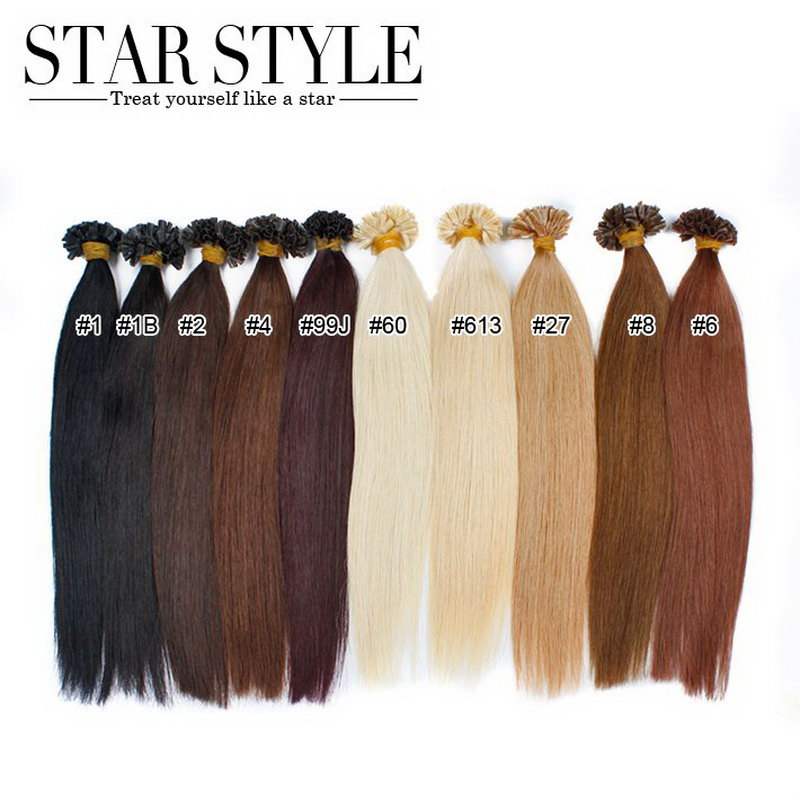 16 -20 60G 100S Silky Beauty Straight hair Pre Bonded Hair Extensions Keratin Nail U Tipped Hair  10colors Black to Blonde<br><br>Aliexpress