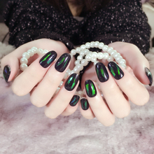 Hand Made tips nail Short 24pcs Star Stickers Surface Blue Green Acrylic nails tip unhas christmas decorations for Nail Art