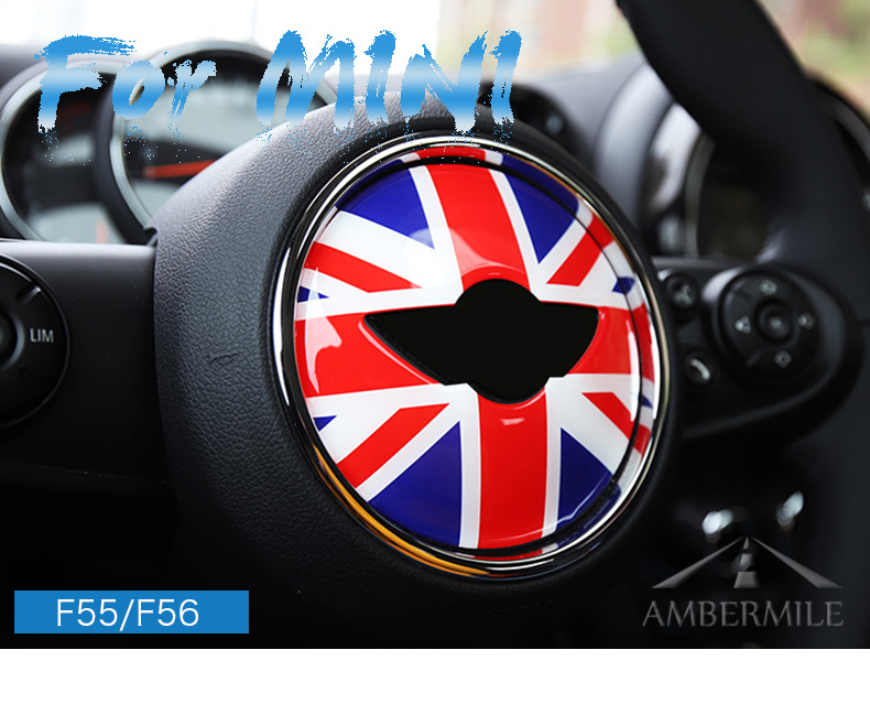 3D Car Steering Wheel Center Stickers Covers Interior Decorations for MINI Cooper JCW F55 F56 Accessories Car Styling (1)