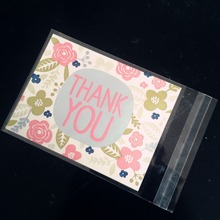 cookie thank you bread puff gift jewelry flower lovely bakery self adhesive packaging biscuit plastic wedding candy bag