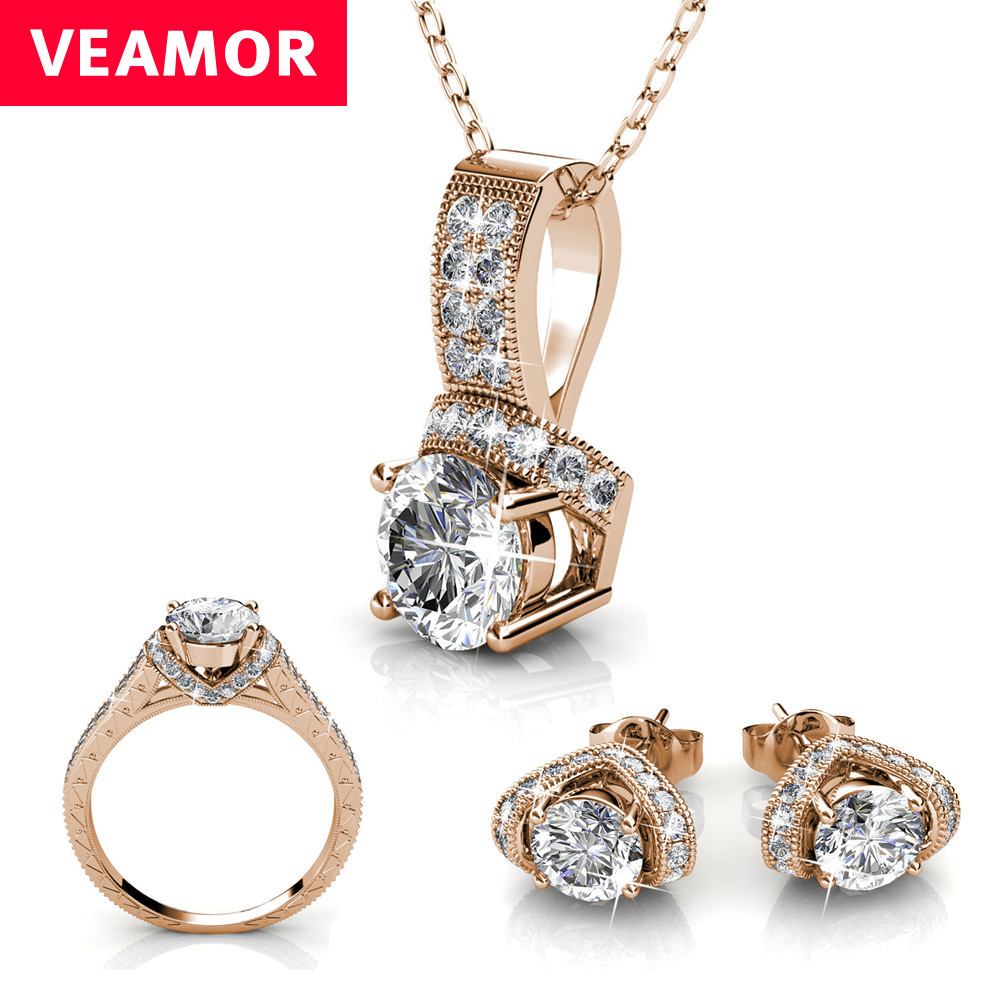 VEAMOR necklace ring earrings wedding jewelry set Bridal Jewelry Sets rose gold color and silver color crystals from Swarovski(China)
