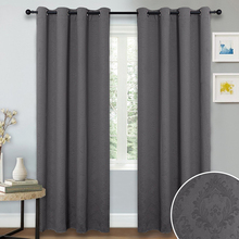 Blackout Curtain Panel for Kitchen - Thermal Insulated Damask Embossed Grommet Blackout Drape for Living Room(China)