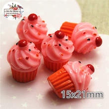 Pink strawberry ice cream cup 10PCS dessert 3D Resin Flatback Cabochon Miniature food Art Supply Decoration 15x21mm