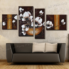 Handmade 4 Piece Canvas Wall Art Canvas Modern Art Painting Abstract Orchid Flower Oil Painting Living Room Decorative Pieces