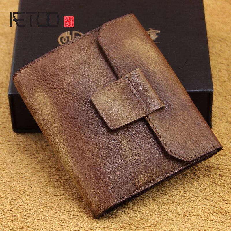 AETOO Original handmade retro leather wallet first layer of men and women tide Bu buckle thin wallet<br>