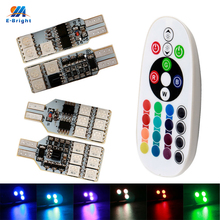 YM E-Bright 1Set(2PCS) T10 194 168 W5W Wedge Bulbs RGB 5050 6 SMD 12 SMD LED Light Strobe Flash 16 Colors With Remote Controll(China)