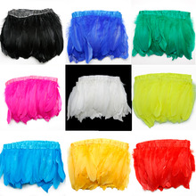 Hot Selling 10 Colors for Choosing Goose feather trims 1 meter/lot Dyed geese feather ribbons 15-20cm Duck feather fringes