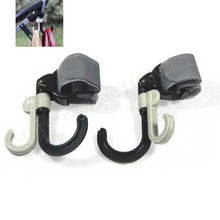 2pcs High Quality Baby Stroller Hook Holder Pram Double Rotate Hook Pushchair Hanger Stainless Steel Shaft, EVA Slip-resistant(China)