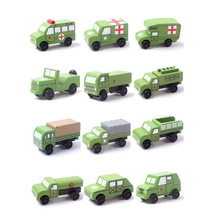 12pcs/lot retro ancient handmade wooden car model toys Military vehicle(China)