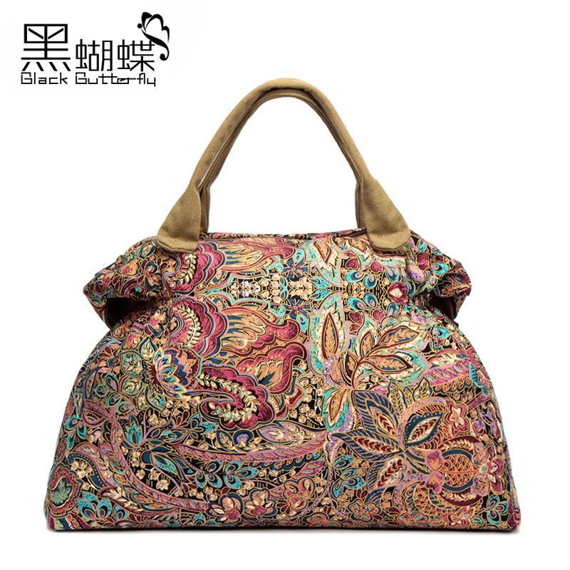 2015 New Vintage National Shoulder Bag Canvas Bag  Large Capacity Handbag Travel Messenger Cotton Bag<br>
