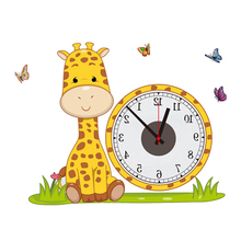2017 hot Giraffe diy real wall sticker electron clocks home decoration living room children love bedroom decorative wallpapers(China)