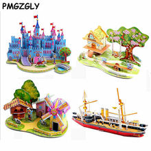 3D DIY Puzzle Jigsaw Baby toy Kid Early learning Castle Construction pattern gift For Children Houses Puzzle Learning Education(China)
