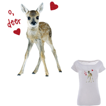 Colife Lovely Deer Iron On Patches Fashion Heat Transfer DIY Clothes Print On The Chest Of Dress T-shirt(China)