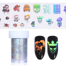 1 Roll Skull Holographic Starry Nail Foil Halloween Manicure Nail Art Transfer Sticker DIY Nail Tools(China)