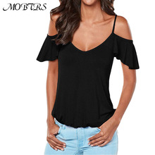 MOBTRS Women Tops Individuality Ruffles Butterfly Sleeves Shirt Womens Casual Shirt For Ladies V-Neck T-Shirt Women's(China)
