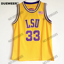 DUEWEER Mens Shaquille O'neal Cheap Throwback Basketball Jersey Shaq Oneal #33 LSU Tigers College Jerseys Retro Shirts(China)
