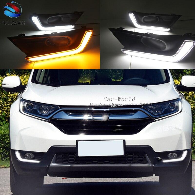 For Honda CR-V CRV 2017 2018 LED Daytime Running Turning Signal Light DRL Fog Lamp Decoration Cover Driving Light Car-styling <br>