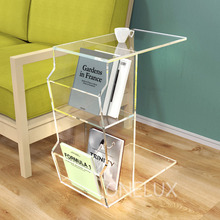 Acrylic C Shaped Occasional Side Sofa Tea Table With Magazine Pockets,Waterfall Lucite nightstands with book rack