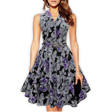 Women'S 50s 60s Retro Vintage Dress Rose Floral Print Rockabilly Swing Feminine Vestidos Party Audrey Dress With Belt(China)