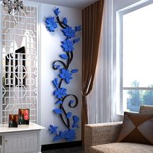 3D Crystal Wall Stickers Home Bedroom Decoration Wall Stickers  Romantic Rose Flower Wall Sticker Removable Decal Room