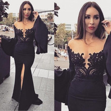 Charming Black Lace Evening Dresses 2017 Sheer Neck Poet Long Sleeves  Mermaid Split Formal Party Gown vestidos de formatura