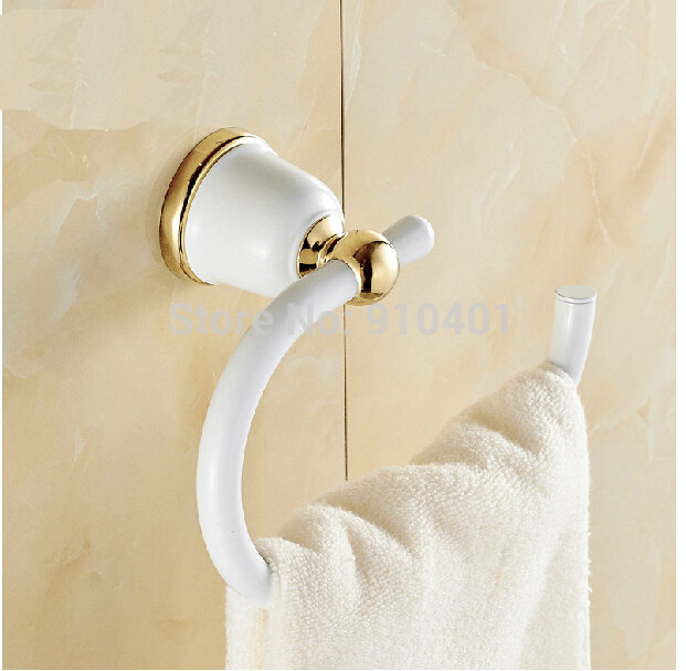 Hot Sale Wholesale And Retail Promotion Golden White Painting Wall Mounted Bathroom Towel Rack Holder Round Towel Ring<br><br>Aliexpress