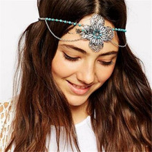 Bohemian Fashion Jewelry Tassel Flower Silver Headband Acessories Crystal Bridal Hair Accessories Head Chain Hair Jewelry