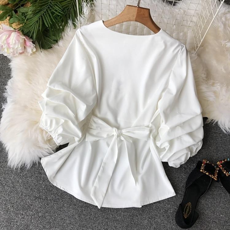 2109 Spring Women V-neck Puff Sleeves Blouse Slim Tunic Tops Retro Vintage Pullovers Busos Para Mujer Kimonos 98 Online shopping Bangladesh