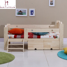 Wooden children bed baby cot with guardrail(China)