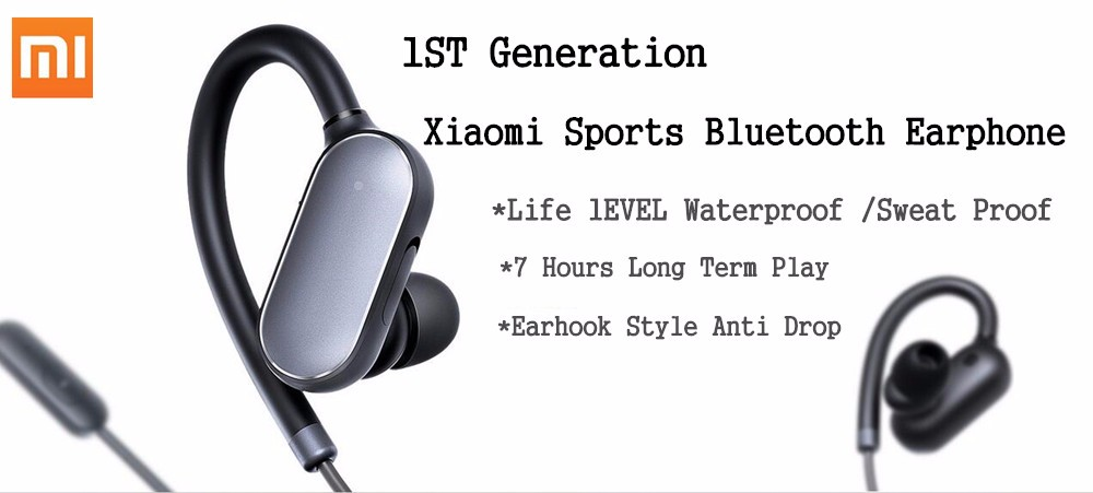 Original Xiaomi Mi Sports Bluetooth Earphone Xiaomi Wireless Bluetooth 4.1 Music Sport Earbud IPX4 Waterproof and Sweatproof