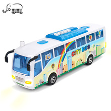 Electronic Simulation City Bus Model Plastic Baby Toys Kids Diecast & Vehicle Car Light Sounds Educational Toy Gift for Children(China)