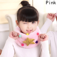 New Arrival Winter Plush Scarf Children Thickened Big Star Cartoon Neck Scarves Kids Girls Boys Warm Soft Muffler(China)