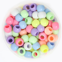 8*9mm Approx 130pcs/bag High Quality Handcraft Mixed Color Acrylic Big Hole Beads Spacer Ball Beads for DIY Jewelry Craft Making
