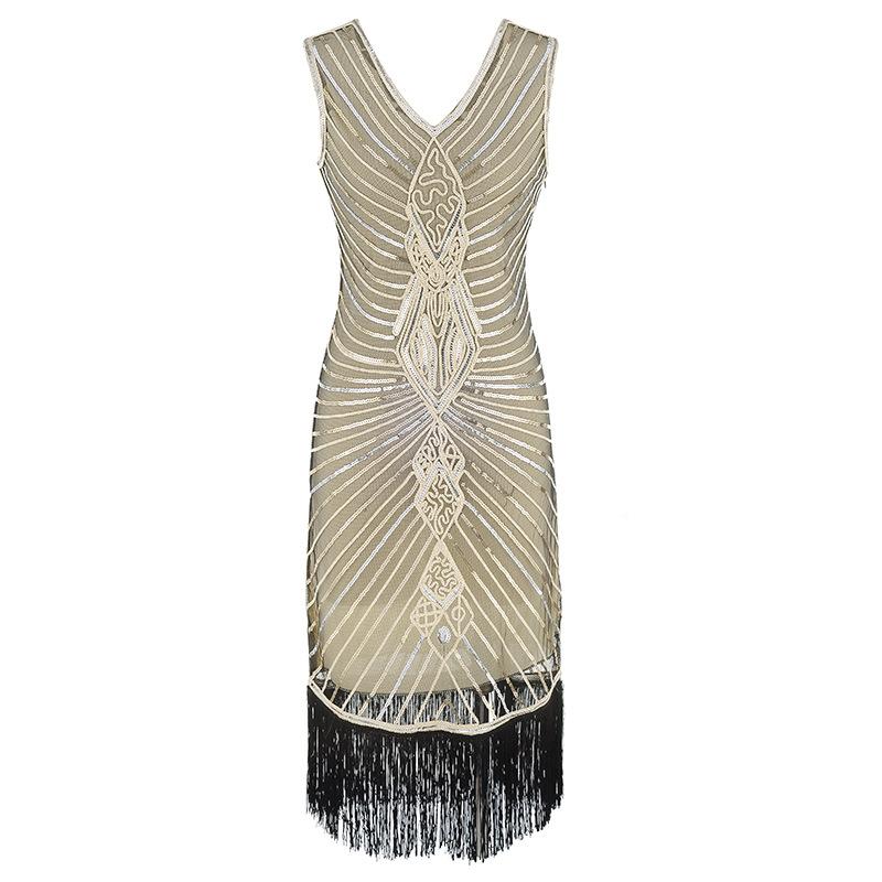 Women Gatsby Dress Geometric Sequins Mesh Patchwork Vintage Flapper 1920s Fringed Dress Bodycon Club Party Dresses Plus Size (2)
