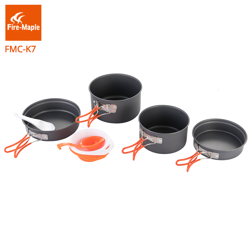 Fire Maple Pots Set Outdoor Camping Foldable Cooking Cookware Aluminum Alloy for 2-3 Persons FMC-K7<br>