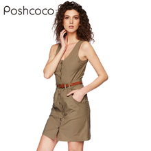 Poshcoco Brand With Belt Casual Sexy Sleeveless Women Vest Dress 2017 Summer Single Breasted Washed Twill Tight Women Dresses(China)