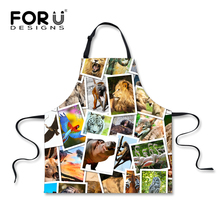 FORUDESIGNS Printing Animal Men Women Home Cleaning Aprons High Quality Polyester Hotel Coffe Tea Shop Aprons Dropshipping