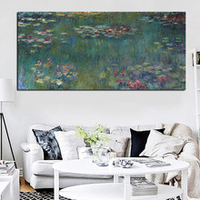 Sale Monet Oil Painting Lotus Canvas Printing Unframed Impressionist Wall Art Print on Canvas Picture Poster Sofa Cuadros Decor(China)