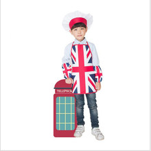 Apron Kit Child Apron British Flag Pattern Kids Aprons Children Eating Drawing Performance Aprons New Arrival Tablier Enfant(China)