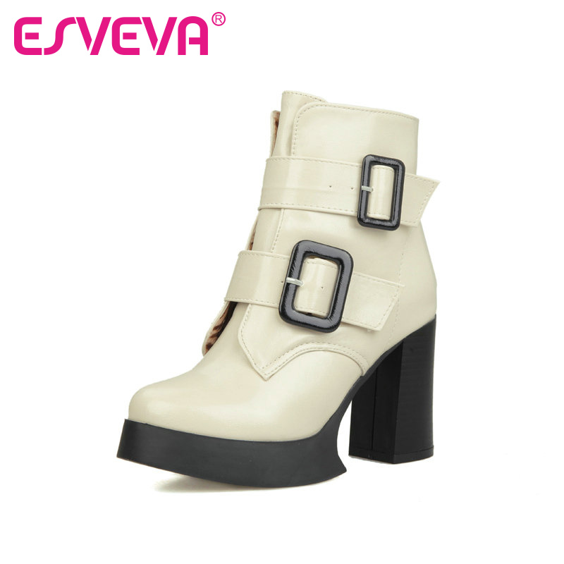 ESVEVA  White Platform Shoes Thick High Heel Woman PU Ankle Boots Buckle Women Shoes Ladies Motorcycle Boots Large Size 34-43<br><br>Aliexpress