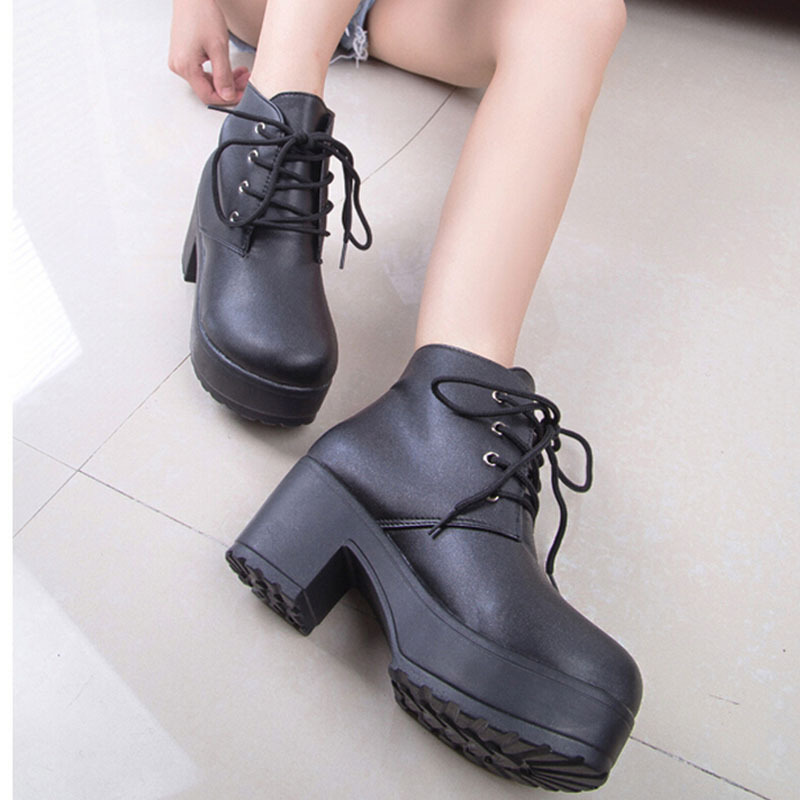 Autumn 2017 New Women Boots Platform Lace Up Punk Ankle Boots For Women Shoes Round High-heeled Martin Boots Plus Size ZK3-35<br><br>Aliexpress