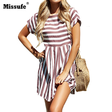Buy Missufe Striped O Neck Summer Dress Mini Casual Short Sleeve T-shirt Female Clothing 2018 Streetwear Slim Beach Dress Women for $11.30 in AliExpress store
