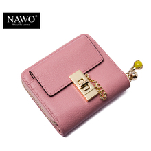 NAWO 2016 New Fashion Cow Real Genuine Leather Women Wallets Pink Luxury Brand Womens Small Wallet Ladies Short Coin Purse Gift