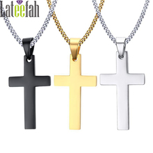 Buy Vintage Punk Cross Pendant Necklace Black Gold Silver Color Long Chain Men Stainless Steel Jewelry Necklaces & Pendants Collier for $5.61 in AliExpress store