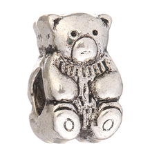 Free Shipping Sliver Bead Charm Shy Bear Beads Fit Pandora Bracelets & Bangles DIY Jewelry SPB631(China)
