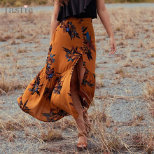 Jastie 2017 Summer Skirts Womens Vintage Floral Print Long Skirt Gypsy Boho Chic Faldas Mujer Mermaid Hem Maxi Skirt Saia Longa