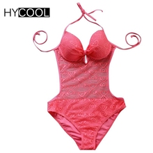 HYCOOL New Hot Pink Women's Lace One Piece Swimsuit Bathing Suit Sexy Push Up Swimwear Halter Crochet Monokini Backless Bodysuit