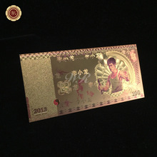 Super Kungfu Movie Star Bruce Lee Commemorative Banknote Plated 24k Gold Foil Colored Chinese Fake Money 100RMB For Home Decor